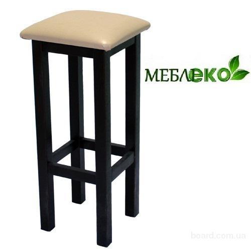 Мебель для кафе и бара из натурального дерева, Табурет Барный Квадрат