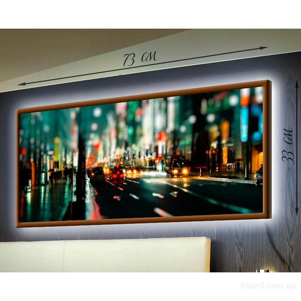 Картина-светильник в деревянной рамке 33х73 см