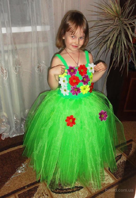 Карнавальное платье на девочку 4-6 лет и обруч на голову