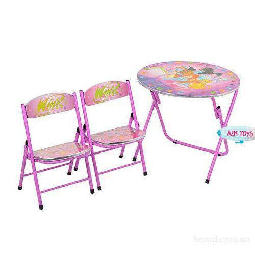 Столик детский со стульчиками сиреневый D 13571 Винкс