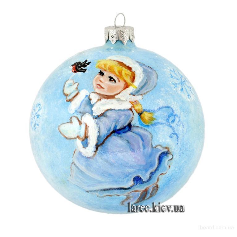 расписной ёлочный шар зимнее настроение, подарок на новый год купить в Украине