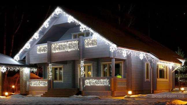 Монтаж праздничной иллюминации,новогоднее оформление дома