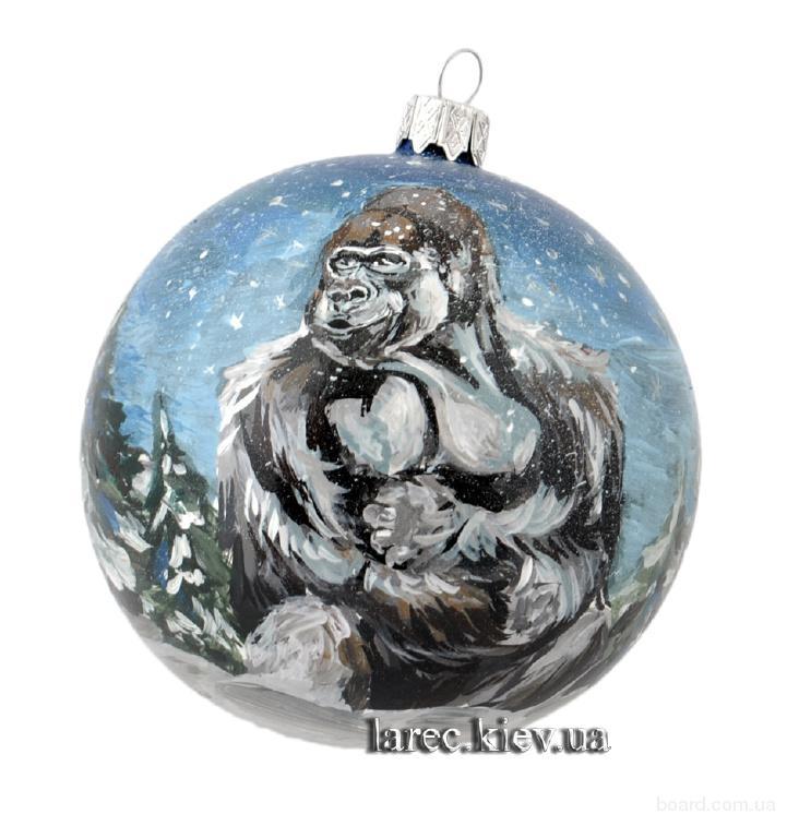 новогодний шар мужество и сила ручная роспись, подарок на новый год 2017