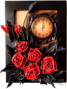 Картина-часы из натуральной кожи. Ручная работа