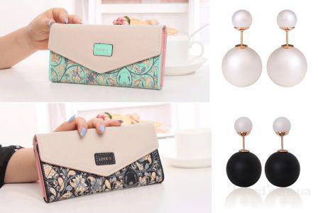 Дизайнерский женский кошелек + серьги Dior в подарок! Акция 2016