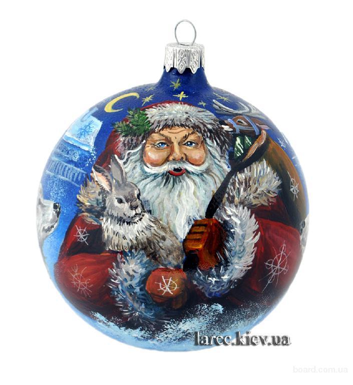 Элитный подарок на Новый год 2016 ёлочный шар Дед Мороз ручная роспись
