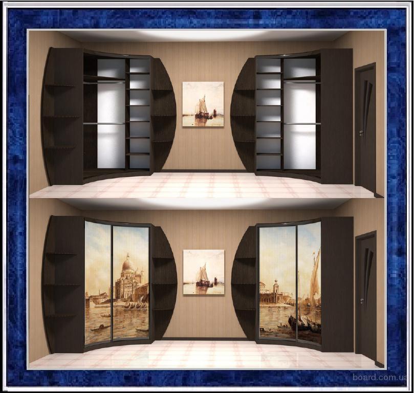 Радиусные и угловые шкафы купе с раздвижными дверьми, фасадами