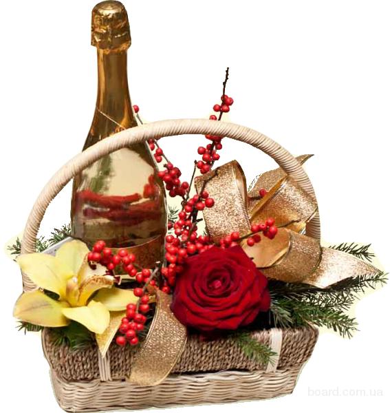Корзина с фруктами и конфетами в подарок 37