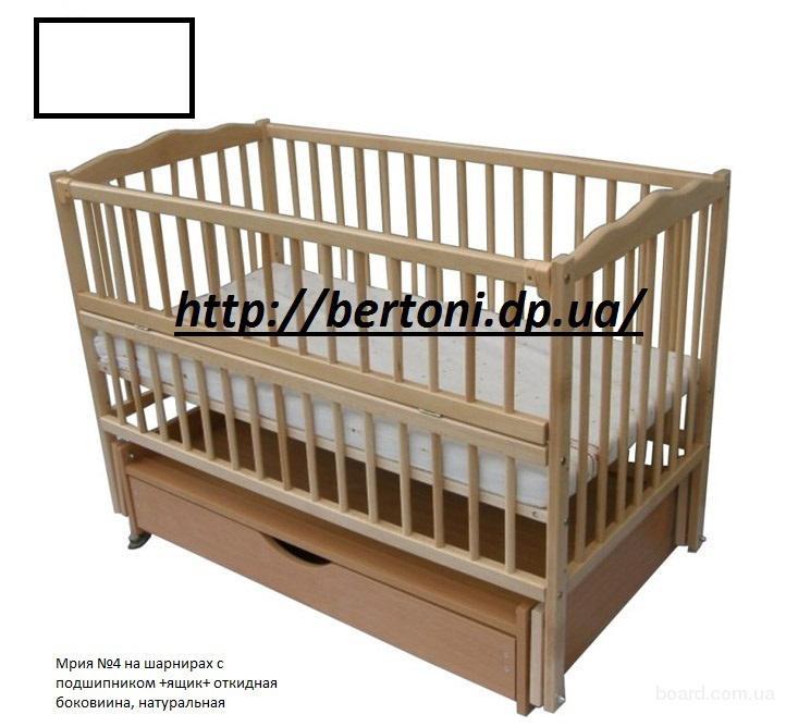 Кроватка детская Labona МРИЯ №4 на шарнирах, откидная боковина, ящик