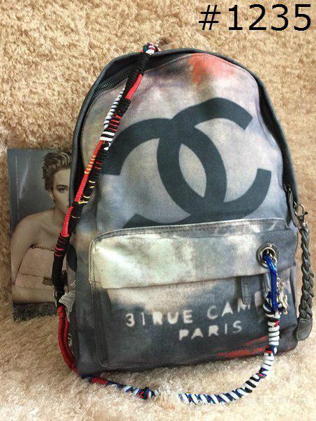 Рюкзак Шанель Chanel серый Люкс копия с логотипом Шанель . Лучшие цены