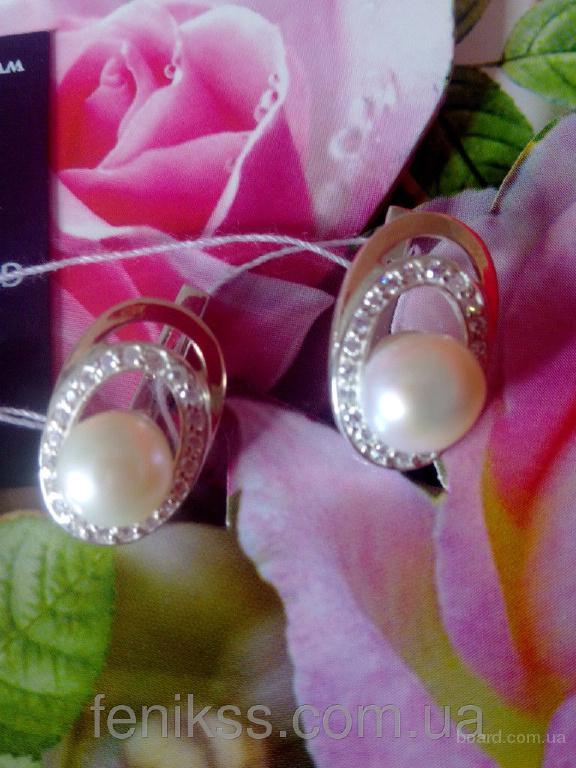 Элитные женские серьги на подарок с серебром, золотом, жемчугом