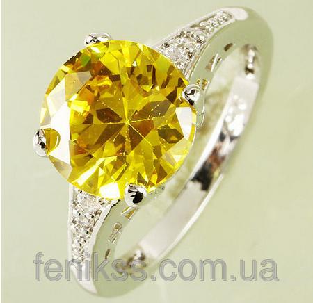 Кольцо круглый цитрин и белый сапфир 925 серебряное кольцо