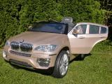 Детский электромобиль BMW X6: platinum-gold