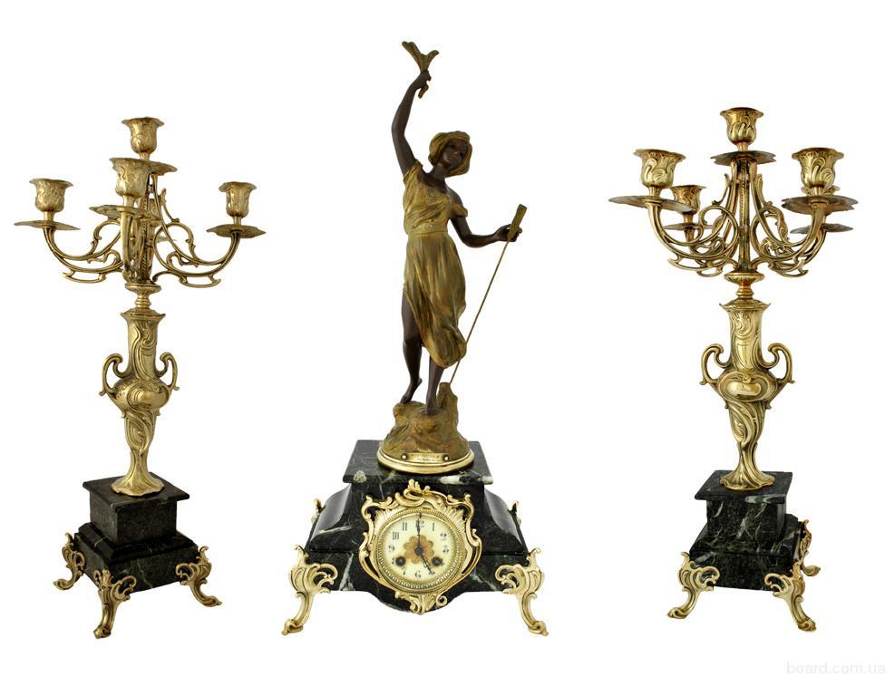 Антикварные каминные часы с канделябрами Muse Pastorale. Подарок на Новый год мужчине