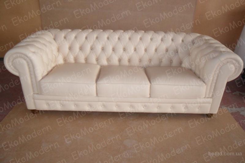 Кожаный мягкий диван Честер в классическом английском стиле