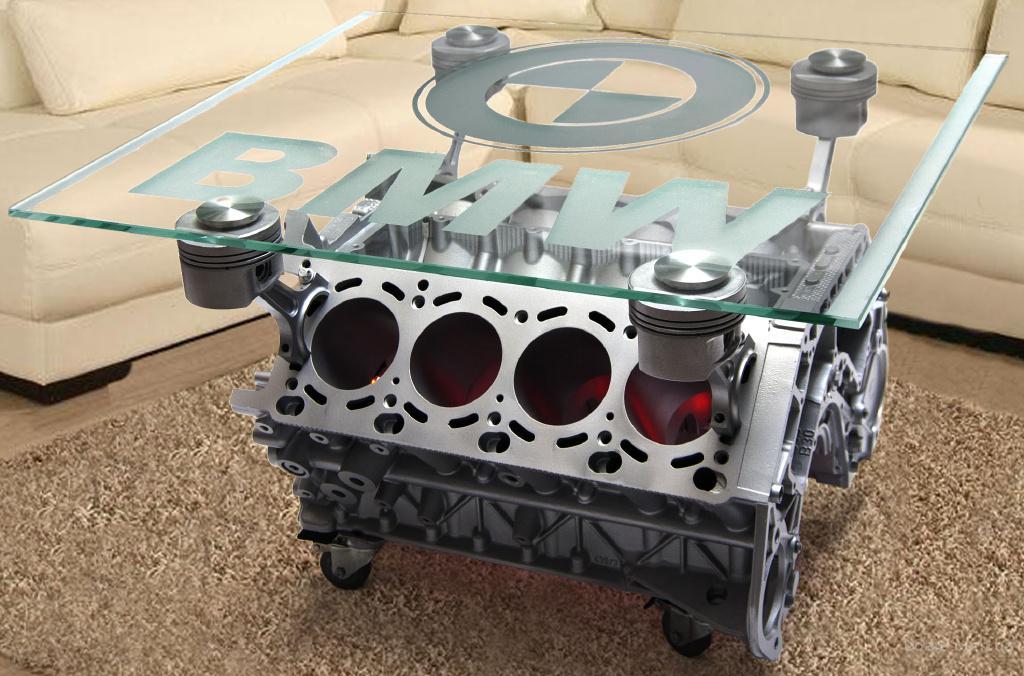 Журнальный столик из двигателя мотора BMW V8. В Наличии. Фото оригинал