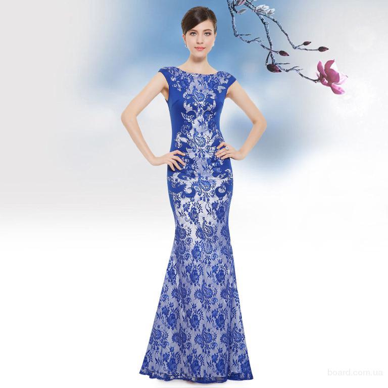 Стильное синее платье купить Киев