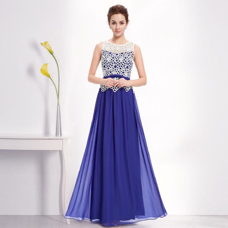 Синее вечернее платье большого размера