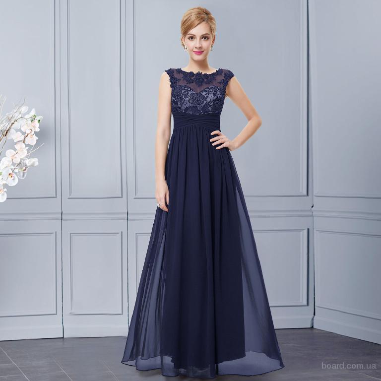 Шифоновое вечернее платье тёмно-синее
