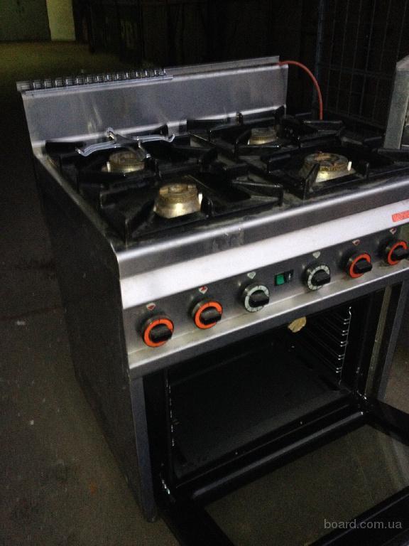 Газовая промышленная плита б/у с электродуховкой для кафе, ресторанов
