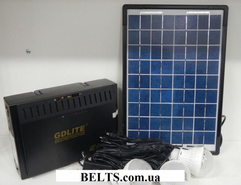 Цина.Солнечная система GD 8012 с лампами и панелью (Фонарик с USB кабелем и переходниками)