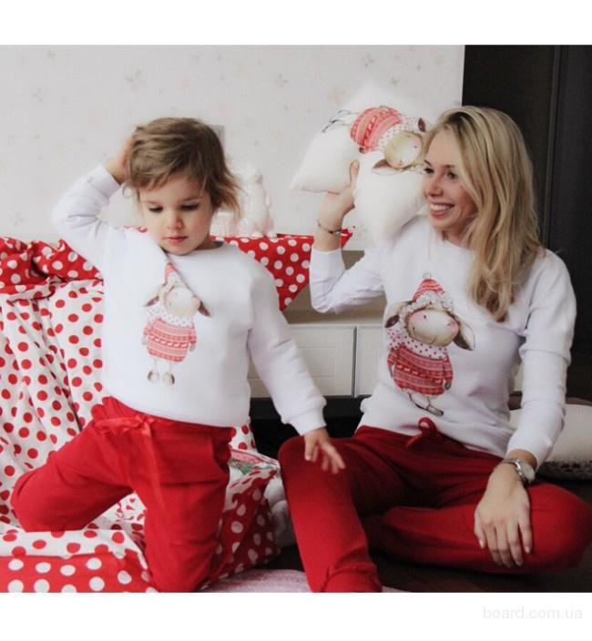Комплект кофт для мамы и ребенка Family look.