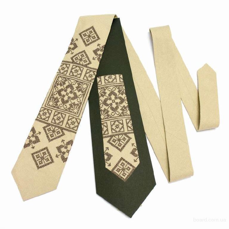 "Вузька вишита краватка з льону ""Лан"" НР"