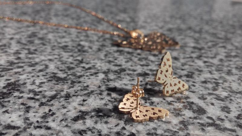 Кулон с цепочкой + серьги Golden Butterfly