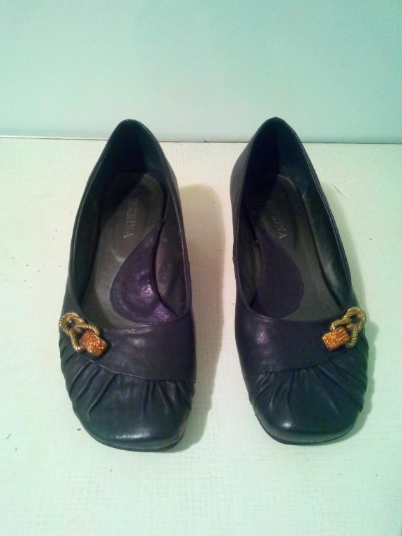 туфли кожаные черные на маленьком каблучке