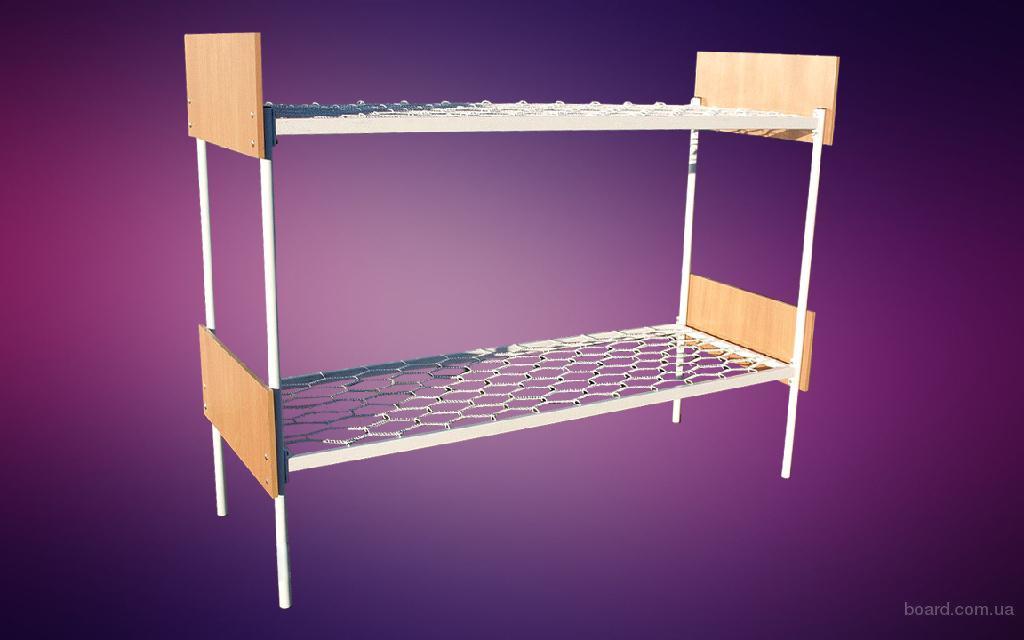 Кровать металлическая двухъярусная со спинками ЛДСП