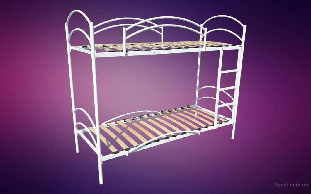 Кровать металлическая двухъярусная с буковыми ламелями
