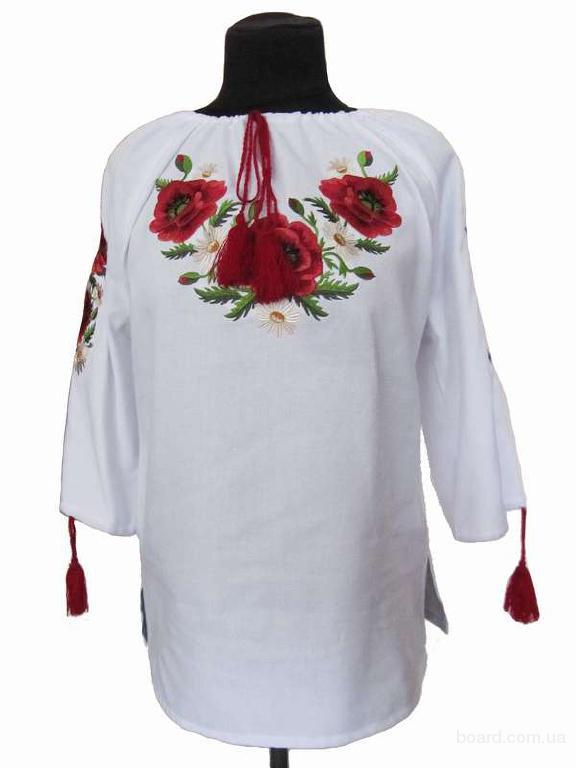 "Блуза класична ""Маки"" (біла домотканна)"