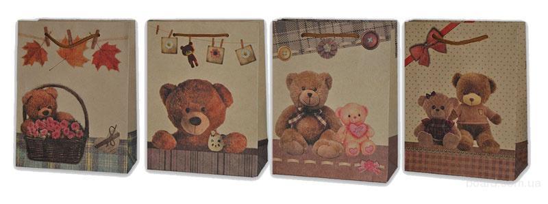 """Подарочные пакеты из сигарного крафта - """"Teddy Bear"""""""