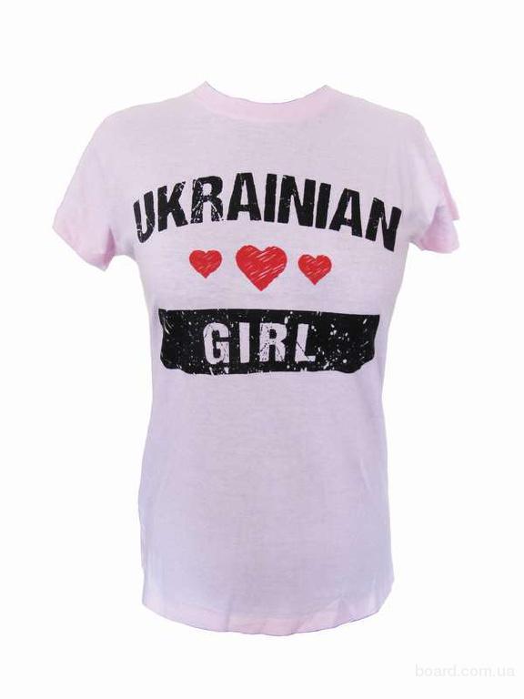 """Футболка """"Ukrainian girl"""" рожева"""