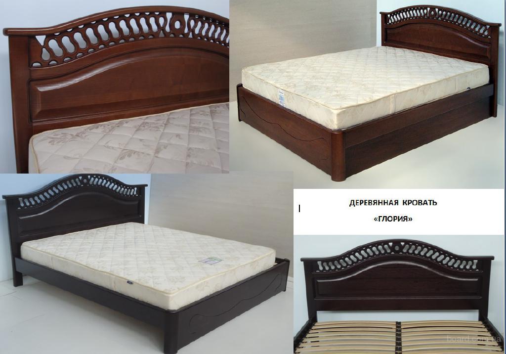 Надежная двуспальная кровать Глория из массива дерева