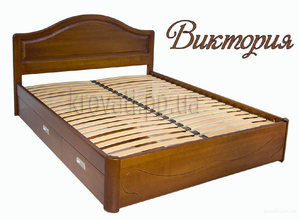 Двуспальная роскошная кровать с ящиками Виктория из массива ясеня, дуба