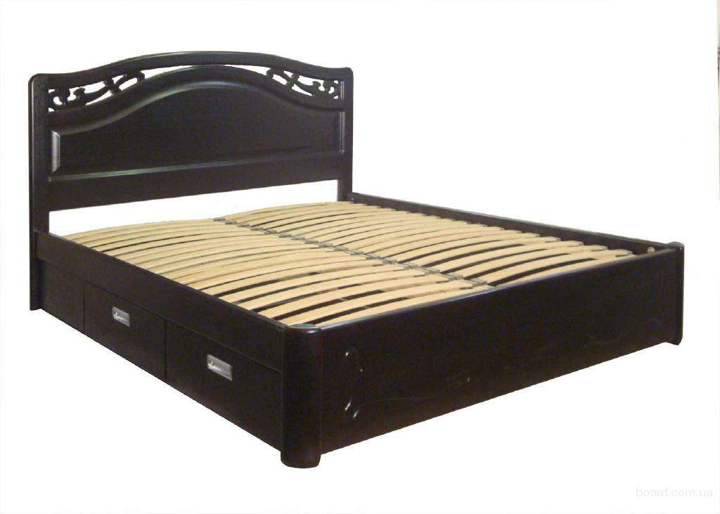Элитная двуспальная кровать Марго из массива ясеня, дуба