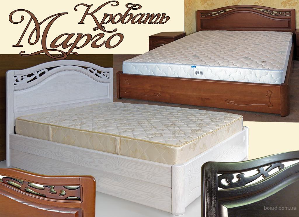 Элитная деревянная двуспальная кровать Марго с ящиками