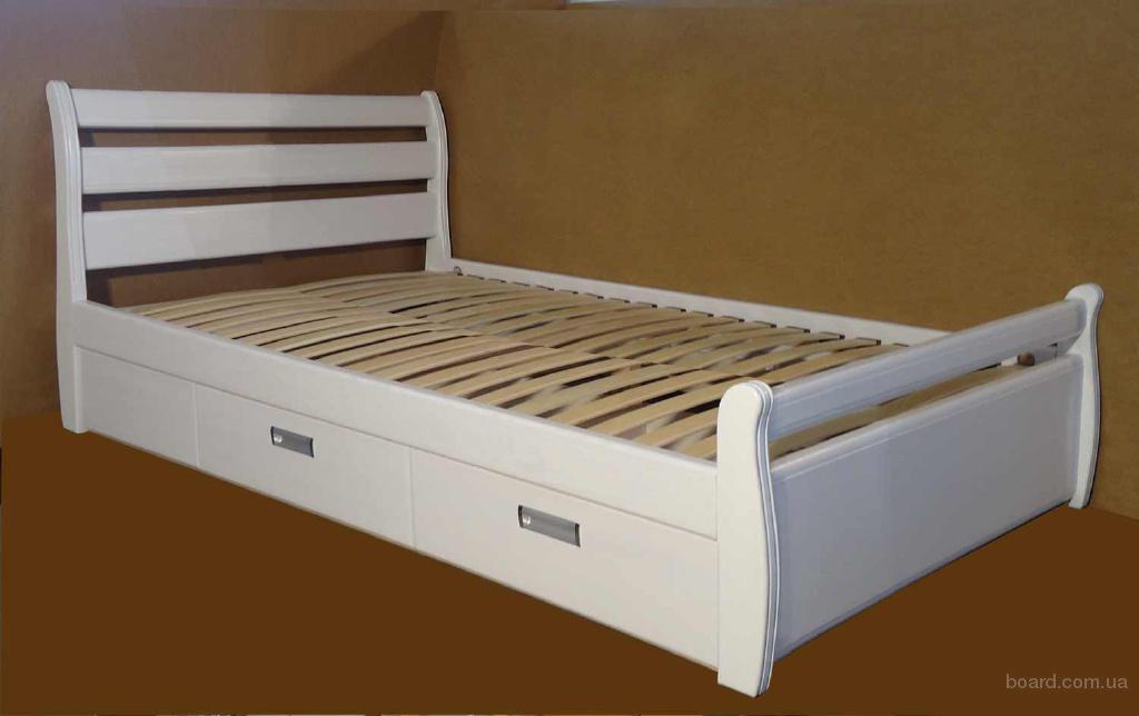 Кровать с ящиками из массива дерева Ольга