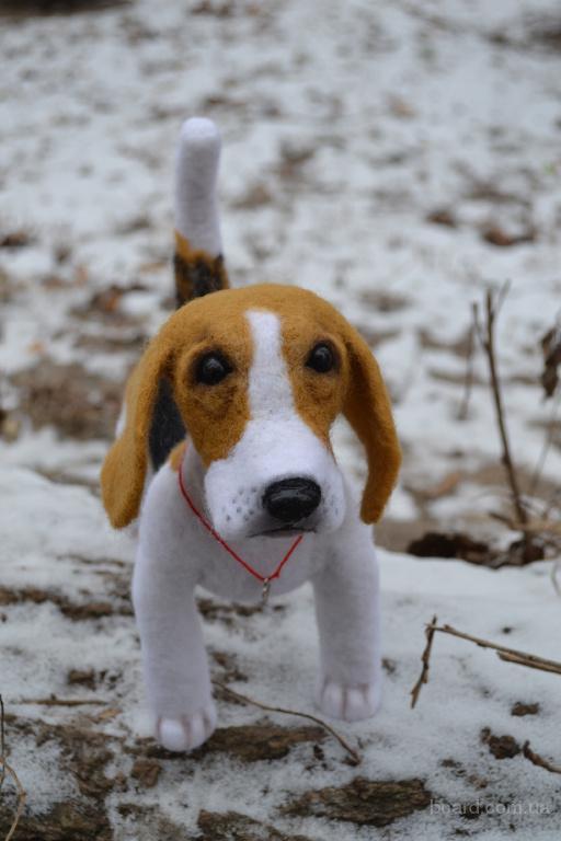 Бигль Тимофей, взрослый пес. Копия животного. Валяние.