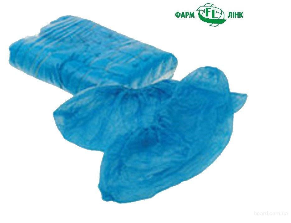 Бахилы полиэтиленовые, синие, 100пар/уп