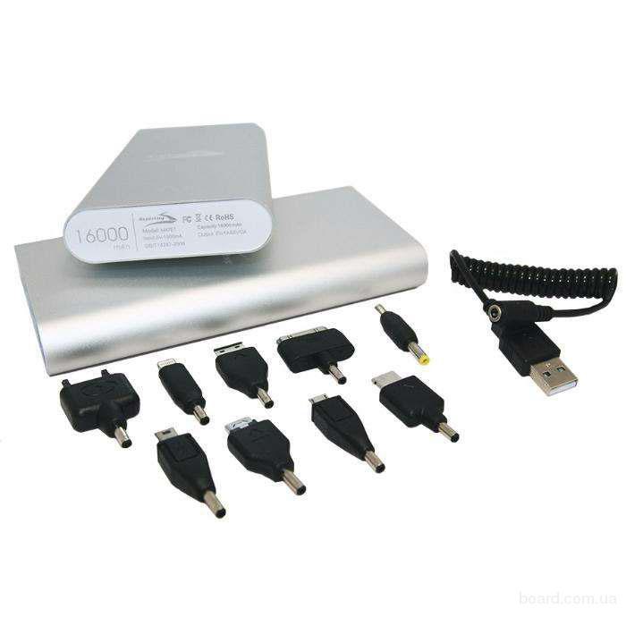 Портативный аккумулятор USB, 9 переходников, 16000 мАч, li-lon