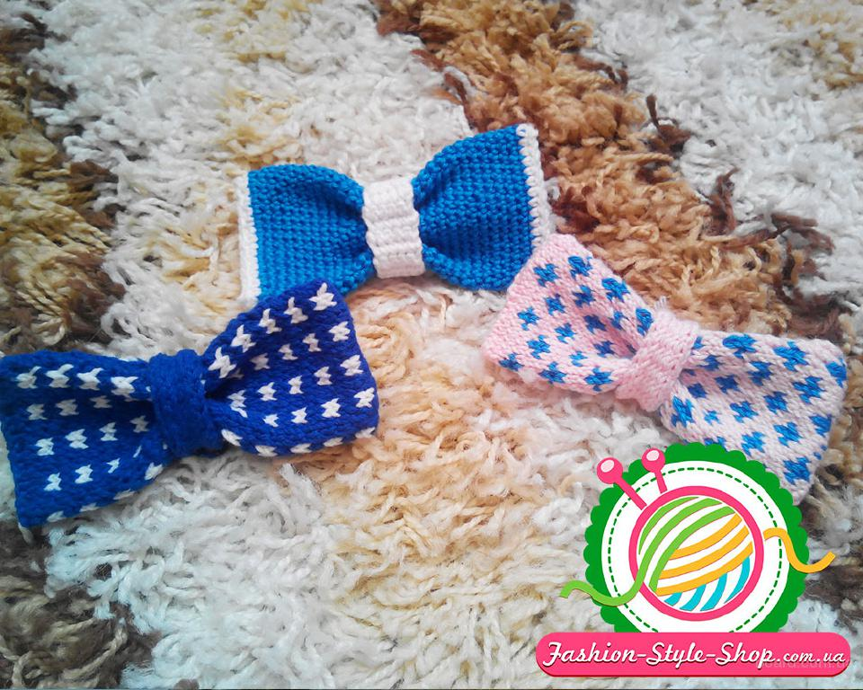 Вязаный галстук-бабочка. Ручная работа