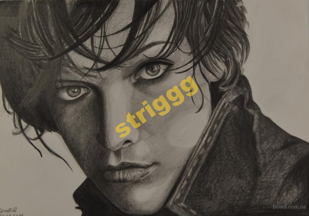 Рисунок карандашом Мила Йовович