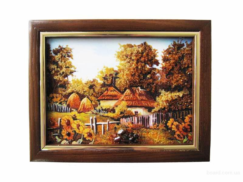 """Картина з бурштину """"Село"""""""