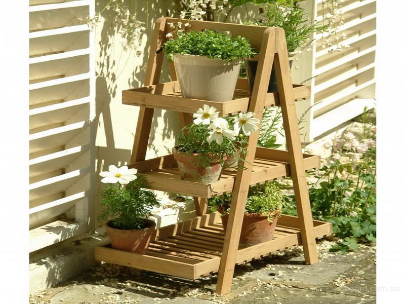 Недорогая декоративная деревянная полка для цветов в дом