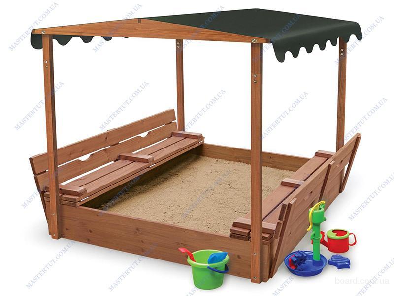 Продам недорого детскую деревянную песочницу с крышкой