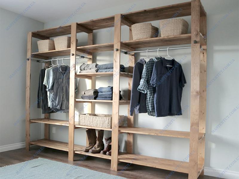 Продам недорого деревянный стеллаж в гардероб или кладовую