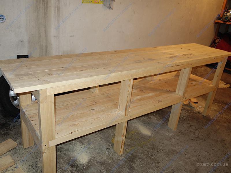 Продам недорогой деревянный стол-верстак, рабочий стол для гаража или мастерской