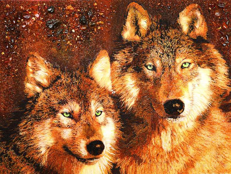 "Картина из янтаря ""Волки"""